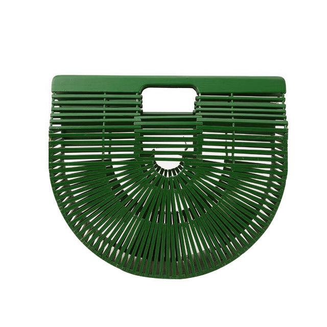 Half-moon Bamboo Handbag green color