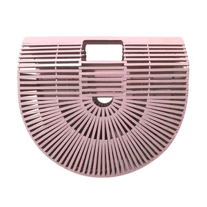 Half-moon Bamboo Handbag pink color