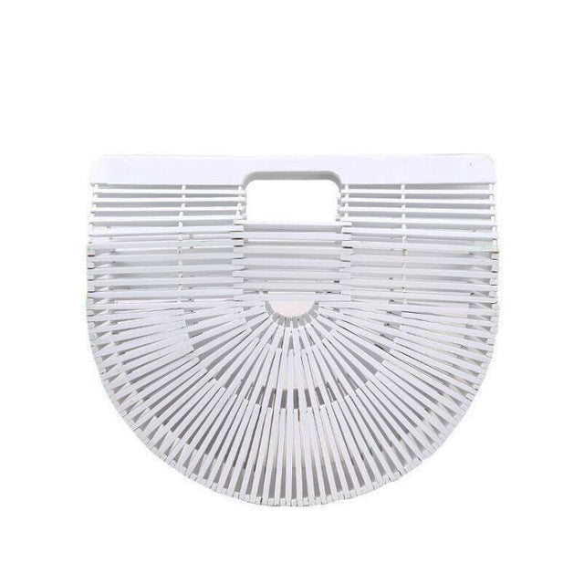 Half-moon Bamboo Handbag white color