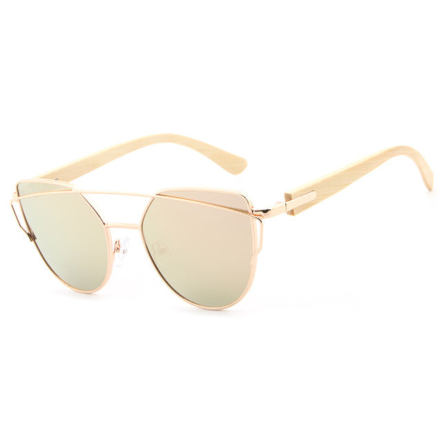 Trending Pilot Women Bamboo Sunglasses with gold and pink