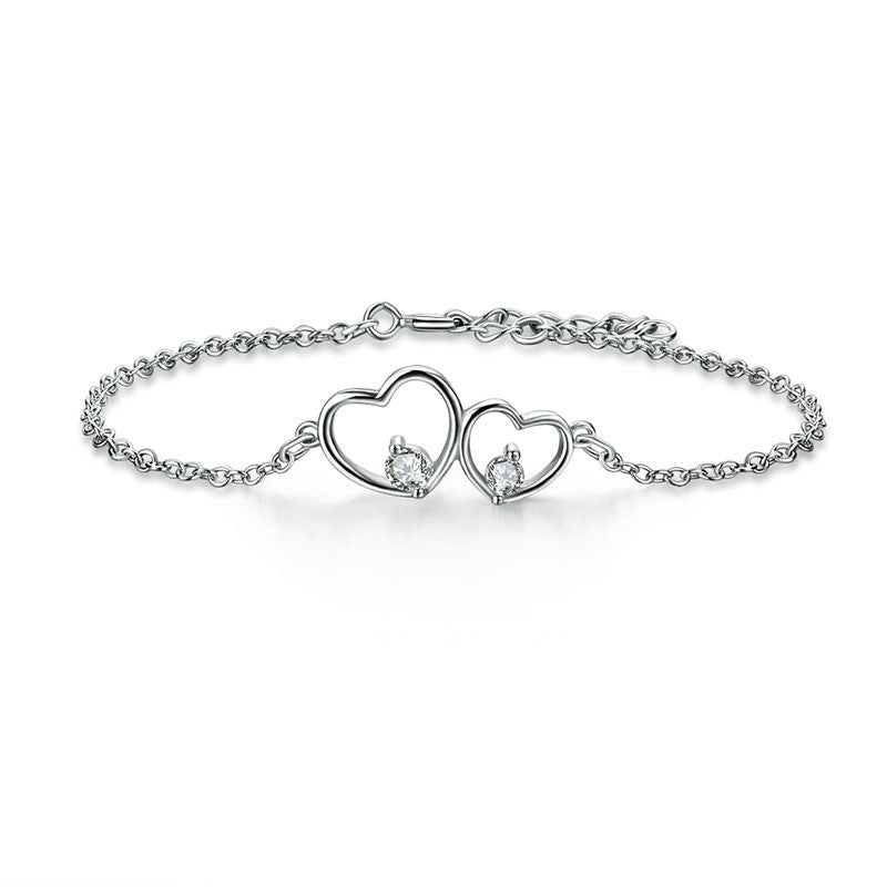 Solid 925 Sterling Silver Bracelet Double Heart Bridesmaid Wedding Gift Classic 2017 New Style