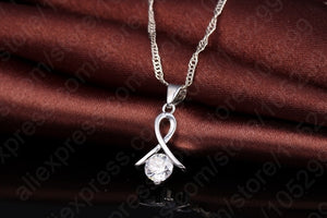 New Fashion Set For Women Cross CZ 925 Sterling Silver Pendant Necklace & Stud Earrings With Free shipping