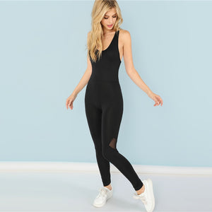 Black Casual Cool Sexy Backless Solid Skinny Shell O-Neck Sleeveless Jumpsuit Summer Women Jumpsuits