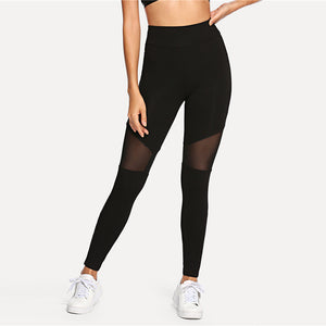 Black Casual Sexy Contrast Mesh Contrast Skinny Solid Leggings Summer Women Trousers