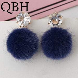 Blue PomPom and Crystal Earrings
