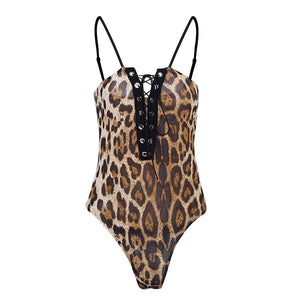 Glamaker Lace up leopard bodysuit women Deep v neck sexy bodysuit romper Casual spring summer bodysuit jumpsuit romper women