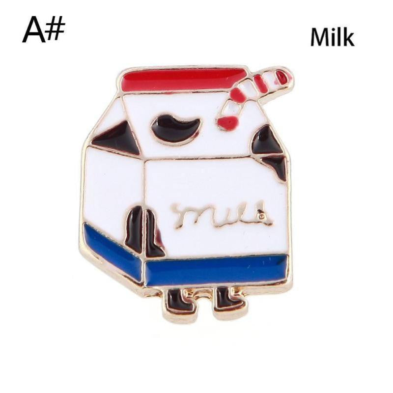 Cute Alloy Brooch Pins Button Pins Cartoon French Fries Chips Hamburger Pizza Cola Milk Watermelon Brooch Kids Gift