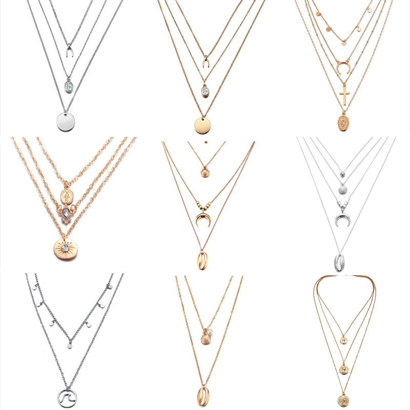 Multilayer Crystal Pendant Necklaces