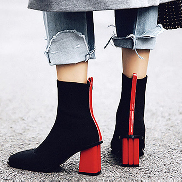 All Stretch Ankle Boots With Colour Block Heel