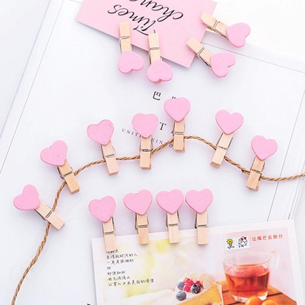 Mini Red Heart Shape Clip Wooden Clothes Po Paper Peg Craft Clips Wedding Party Decoration