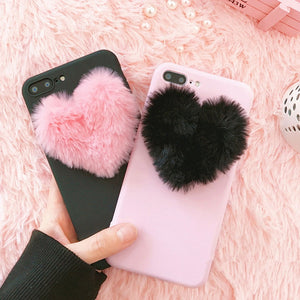 Luxury 3D Cartoon Love Heart case for iPhone XS Max 5 5s 6 6S 7 8 Plus Rabbit Fur plush super cute soft TPU cover for iPhone XR