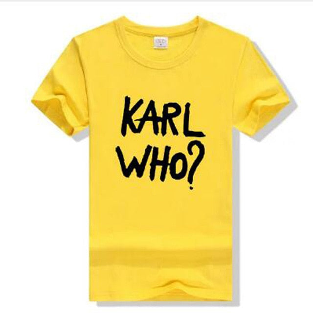 Fashion Karl Women Men Tops Tumblr Ladies Yellow T-Shirt White KARL WHO T Shirts Funny Tee Shirt Male Short Sleeve female Tees