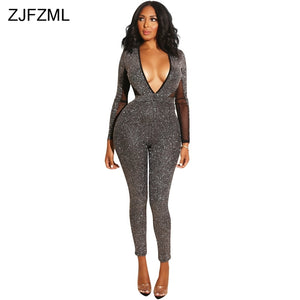 Sparkling Long Sleeve Black Bodycon Jumpsuit