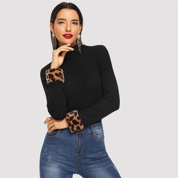 Black Leopard Print Fur Cuff Slim Fitted High Neck Long Sleeve Top