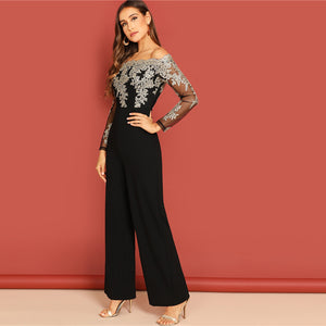 Elegant Black Mesh Off Shoulder Jumpsuit