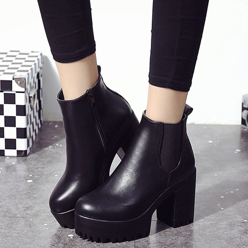 Chunky Heel Ankle Boots Women Winter New Motorcycle Boot Autumn Platform Zip Fashion Chelsea Shoes Ladies Casual High Heel Pumps