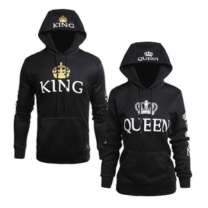Men Women Fall Winter Clothing Casual Wear Couple Sweatshirts Lettered Pattern QUEEN KING Print Long Sleeves Hoodie with Hats