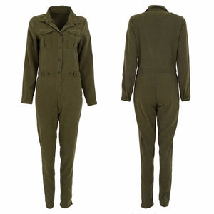 Army Green Casual Button Front Jumpsuit