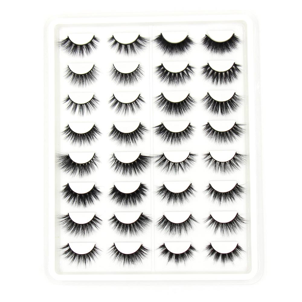 SOQOZ 16 Pairs False Eyelashes 3D Mink Eyelashes Handmade Eye Lashes Real Mink Makeup Thick Fake False Eyelashes With Fluffy