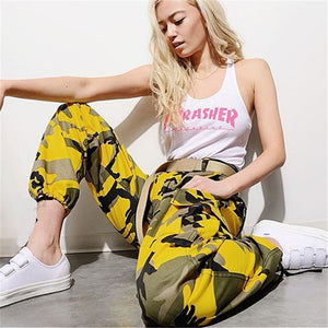 Women Harajuku Streetwear Camouflage Pink Yellow Work Pants Female Harem Pants Hip Hop Pantalones Mujer Verano Army Pants