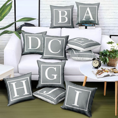 Meijuner Cushion Cover Grey 26 English Alphabet Throw Pillowcase Single-sided Printing Pillowcase For Hotel Coffee Home Decor