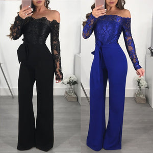 Women Ladies Casual Lace Off Shoulder Lace Up Jumpsuit Playsuit Wide Leg Romper