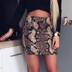 Snake Skin Print Sexy Faldas Cortas Modis Mini Skirt Two Piece Outfits Summer Bodycon Club Party Uzun Etek Women Skirt 40NV6