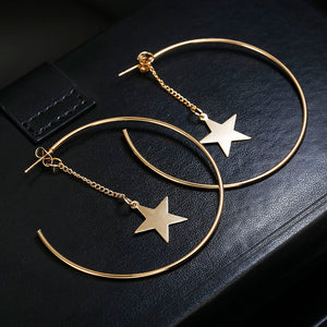 3db0a6326 Personality Super Big Circles Hoop Earrings For Women Fashion Gold Color Jewelry  Trendy Retro Big Round