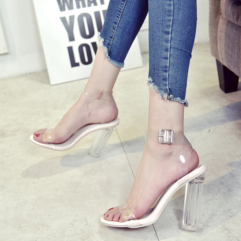 Sexy Women Pumps Jelly Casual High Heels Open Toe T stage Platform Buckle Strap Transparent Sandals Ladies Shoes Slippers 2257W