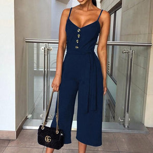 ELSVIOS Women Spaghetti Strap Jumpsuit Romper Elegant 2019 Summer Button Sleeveless Sashes Playsuit Casual Solid V-neck Overalls