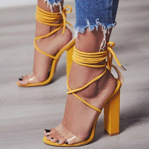 Women Shoes Sexy Square High Heel Lace-up Casual Pumps Ladies 2019 Summer Party Women Sandals Shoes Size 34-43 Footwear KBT1025
