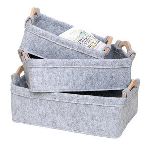 Felt Portable Storage Basket Desktop Snack Toy Baskets Cosmetics Books Sundries Basket Organizer Black Grey Color