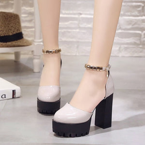 Fashion Women Shoes Pumps Spring Summe round toe thick heel Female High Heel Shoes A word buckle Platform Shoes Lady sandals