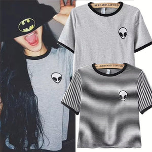 Design Fashion Women Short Sleeve Popular Gray T Shirts Casual Print Alien Striped Funny T-shirt Harajuku Tops Streetwear Tees