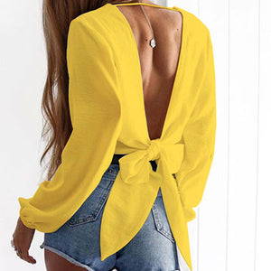 Tie-Back Deep V Neck Long Sleeve Blouse
