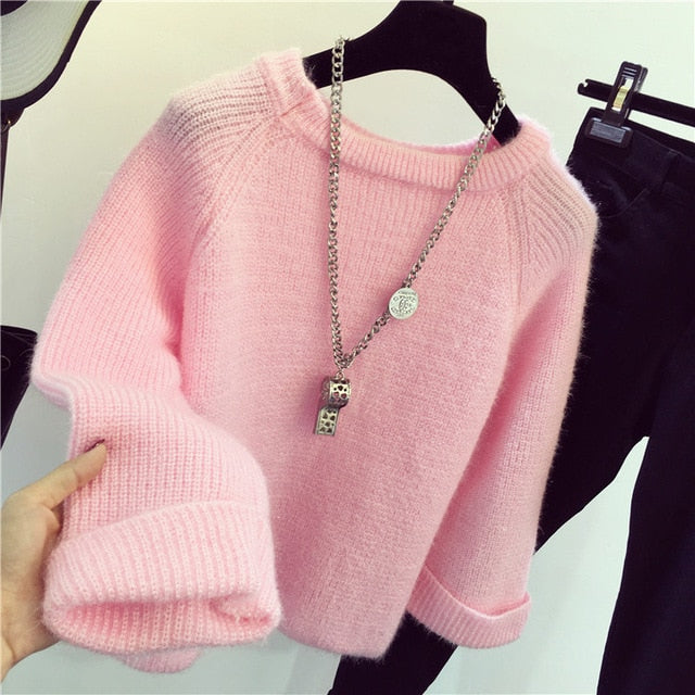 Solid Knitted Loose Sweater Long Sleeve