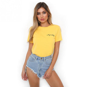 Fashion Letters Embroidery T-shirt Women O-neck Short Sleeve Tops Girls Casual Streetwear Tee for Ladies Yellow Red