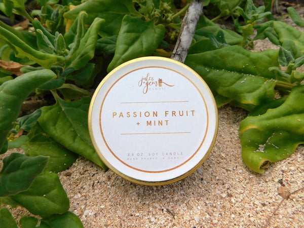 Passion Fruit + Mint 3.5 oz. Travel Tin Soy Candle