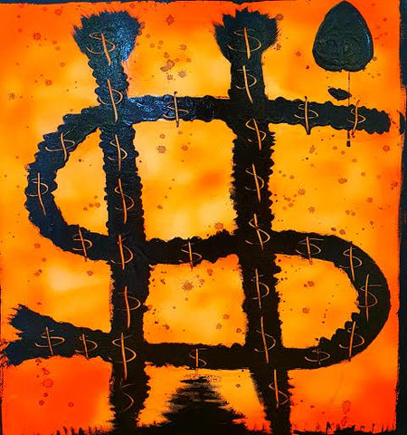 Dollarshot 32 and a spade (2015) Acrylic on canvas 46 x 56 cm (Unframed) Open box frame recommended