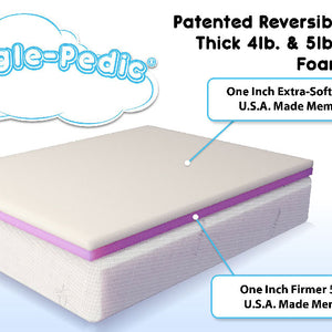 Patented reversable memory foam mattress topper.