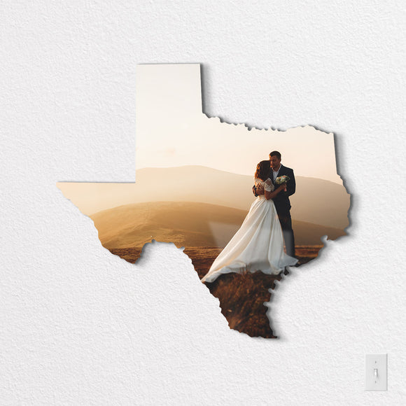Texas Shaped Metal Print on Black Wall