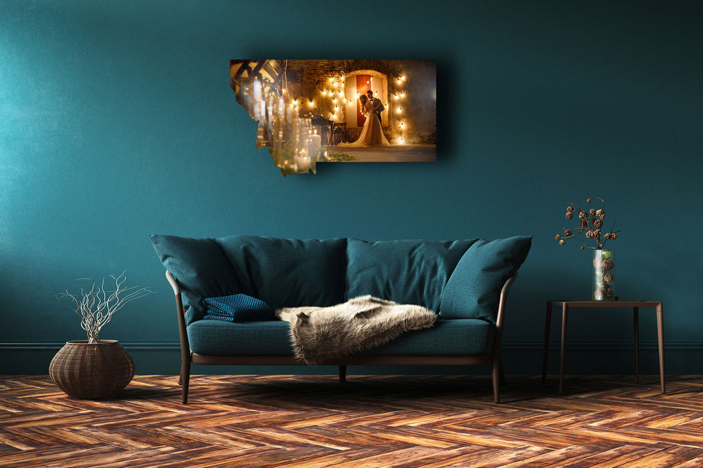 Teal room featuring Montana shaped metal print with orange candlelit wedding scene