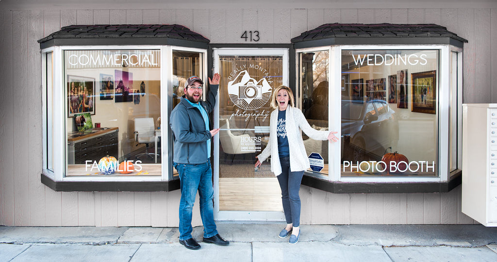 John and Elisha Mack in front of their photography Studo, 413 Central Ave. in Great Falls, MT