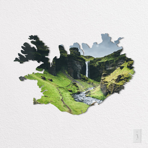 Iceland Shaped Metal Print on White Wall