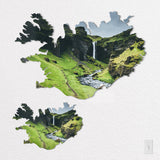 Iceland Shaped Metal Prints on White Wall