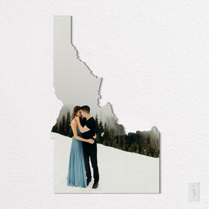 Idaho State Shaped Metal Print on White Wall