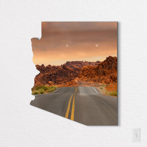 Arizona State Shaped Metal Print on White Wall