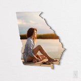 Georgia State Shaped Metal Print on White Wall