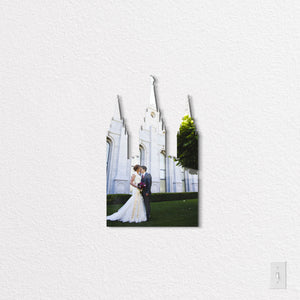 LDS SLC Temple State Shaped Metal Print on White Wall