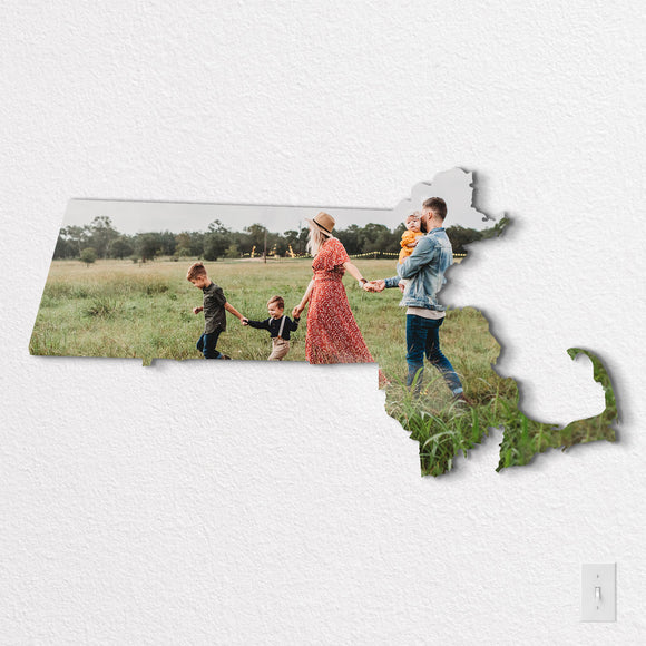 Massachusetts State Shaped Metal Print on White Wall